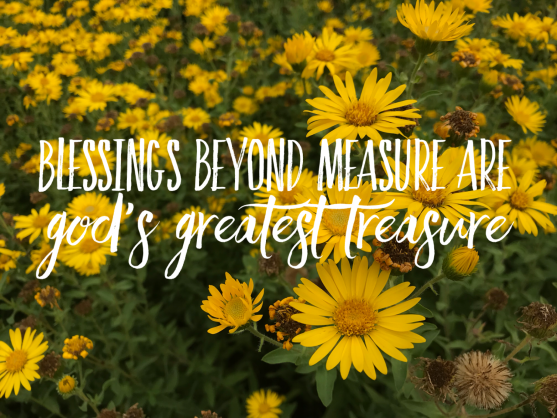 Yellow flowers with quote blessings beyond measure are God's greatest treasure