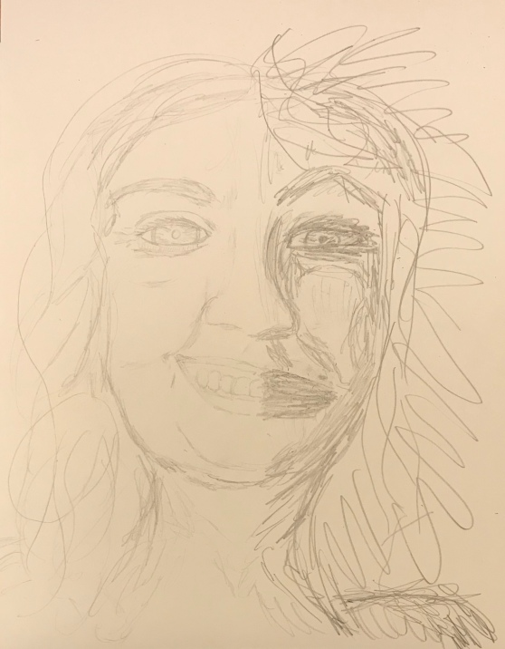 Pencil sketch of two-sided face, one smiling and one ugly and snarling